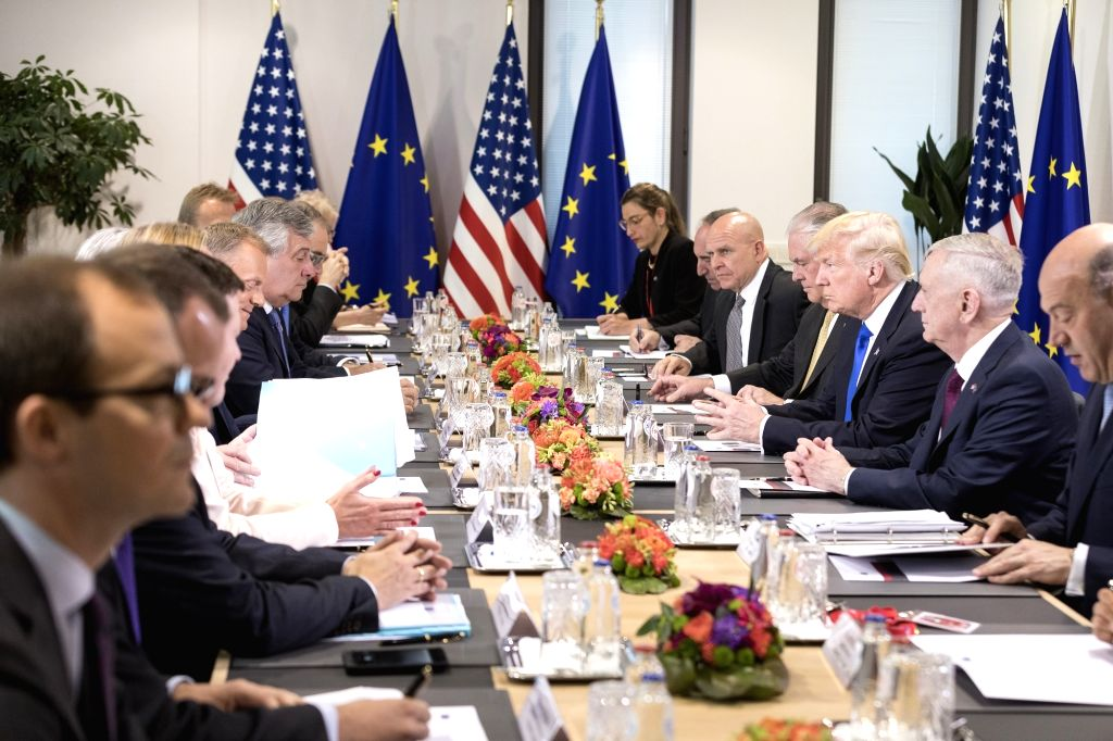 BRUSSELS, May 25, 2017 - U.S. President Donald Trump (3rd R) attends a meeting with EU leaders at the European Council headquarters, in Brussels, Belgium, May 25, 2017.