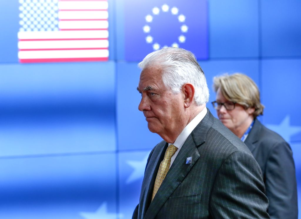 BRUSSELS, May 25, 2017 - U.S. Secretary of State Rex Tillerson (Front) leaves the European Council headquarters after EU-USA ers' Meeting, in Brussels, Belgium, May 25, 2017.