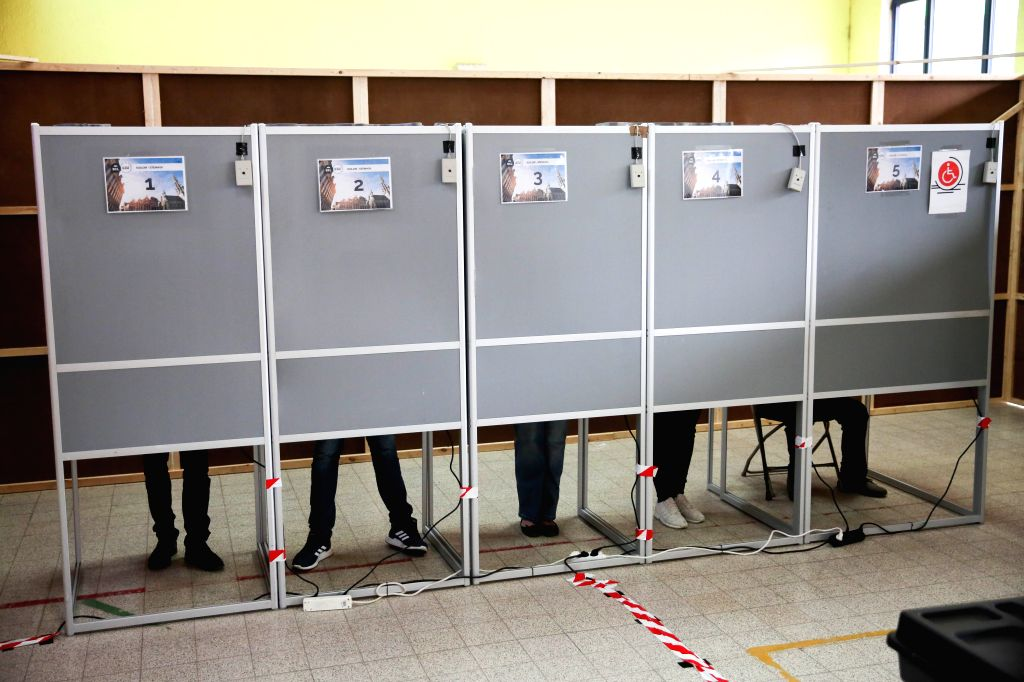 BRUSSELS, May 26, 2019 - People prepare to vote at a polling station in Brussels, Belgium, May 26, 2019. The European Parliament (EU) elections started in Belgium on Sunday.