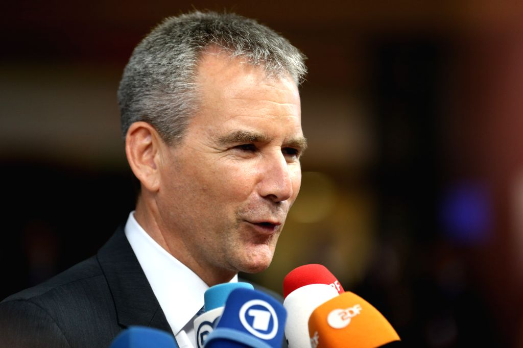 BRUSSELS, May 28, 2019 - Austrian interim chancellor Hartwig Loeger is interviewed upon his arrival at the European Union headquarters for an informal dinner of EU heads of state or government in ...