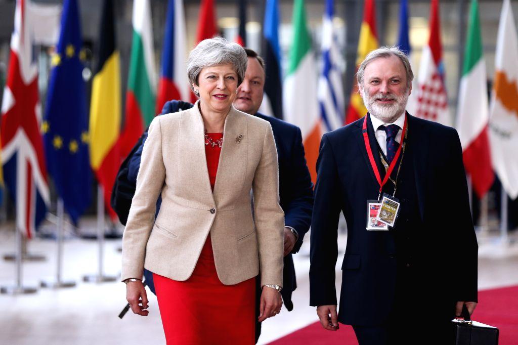 BRUSSELS, May 28, 2019 - British Prime Minister Theresa May (L, Front) arrives at the European Union headquarters for an informal dinner of EU heads of state or government in Brussels, Belgium, on ... - Theresa May