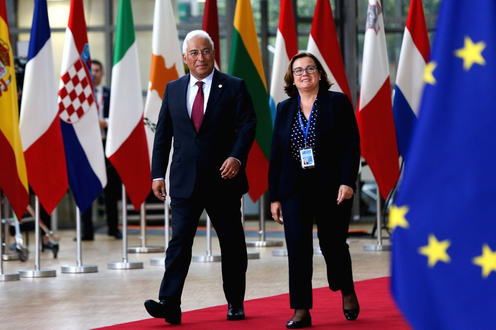 BRUSSELS, May 28, 2019 - Portuguese Prime Minister Antonio Costa (L) arrives at the European Union headquarters for an informal dinner of EU heads of state or government in Brussels, Belgium, on May ... - Antonio Costa