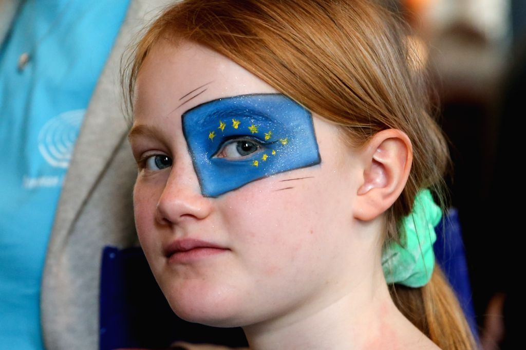 BRUSSELS, May 4, 2019 - A girl visits the European Parliament during the Open Day of the European institutions in Brussels, Belgium, May 4, 2019. The Open Day is a unique opportunity for the public ...