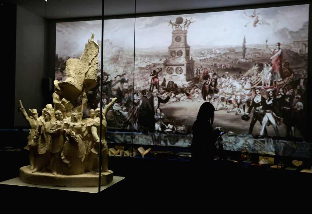 BRUSSELS, May 9, 2017 - A visitor views the exhibits at the House of European History in Brussels, capital of Belgium, May 9, 2017. As a subsidiary body of the European Parliament, the newly-opened ...