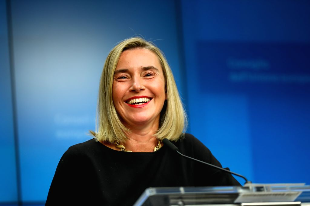 BRUSSELS, Nov. 11, 2019 - European Union (EU) High Representative for Foreign Affairs and Security Policy and Vice President of the European Commission Federica Mogherini attends a press conference ...
