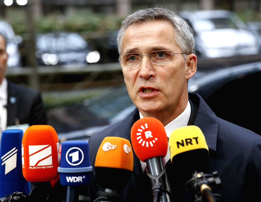 BRUSSELS, Nov. 15, 2016 - NATO Secretary-General Jens Stoltenberg speaks to the media as he arrives for a meeting of EU defense ministers at EU headquarters in Brussels,  Belgium, Nov. 15, 2016.
