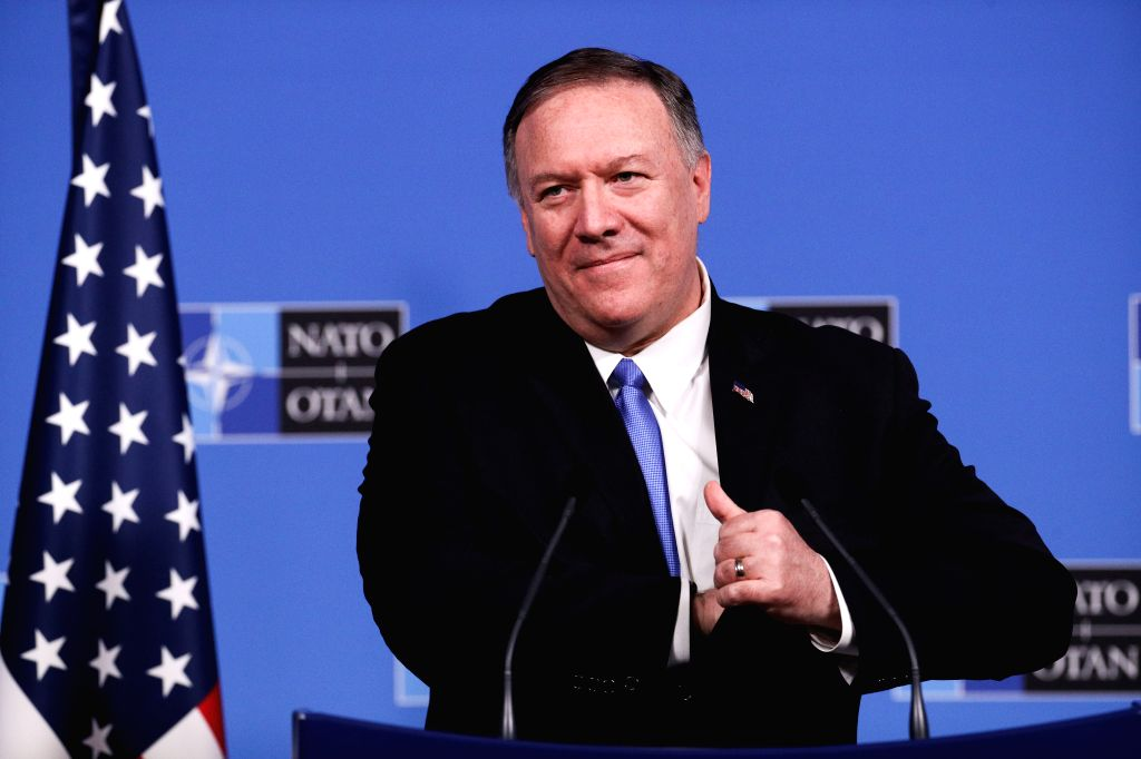 BRUSSELS, Nov. 20, 2019 (Xinhua) -- U.S. Secretary of State Mike Pompeo attends a press conference after the meeting of the North Atlantic Council at the level of foreign ministers at the NATO headquarters in Brussels, Belgium, on Nov. 20, 2019. Fore