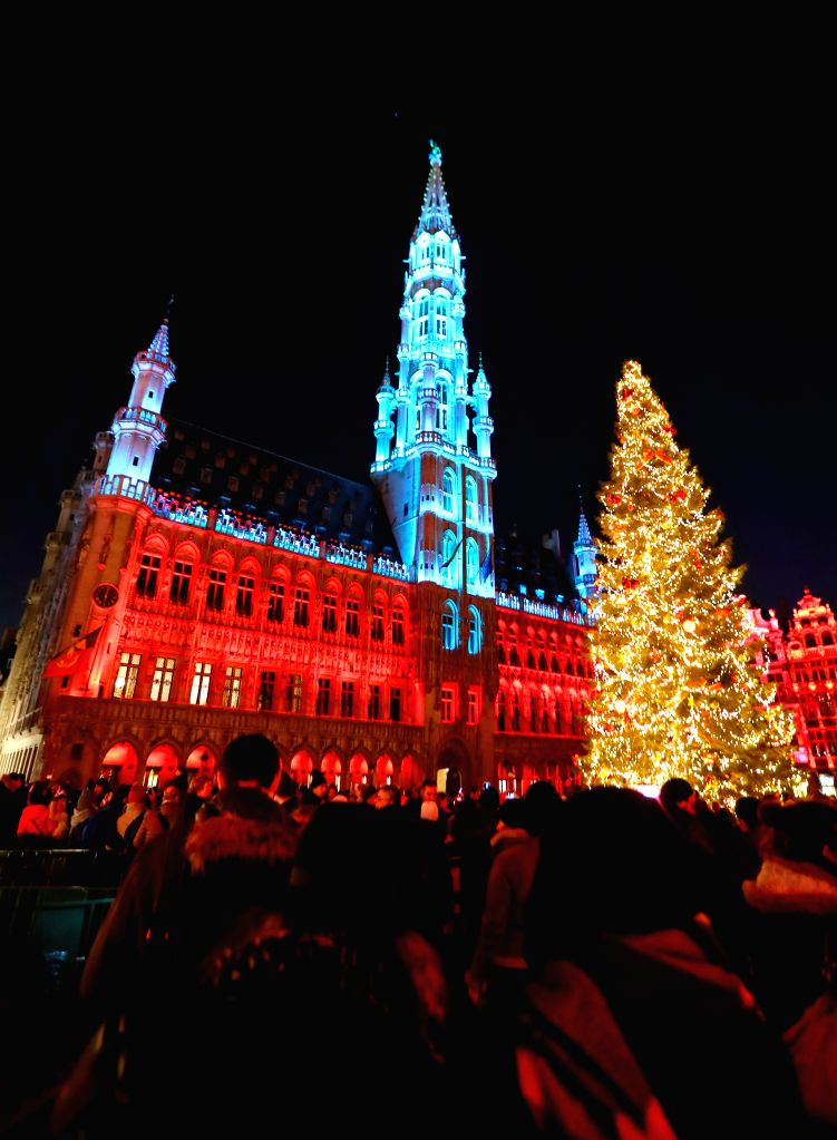 BRUSSELS, Nov. 26, 2016 - A sound and light show is held at the Grand Place in Brussels, Belgium, Nov. 25, 2016. The show would last from Nov. 25 to Jan. 1, 2017. (Xinhua/Gong Bing)