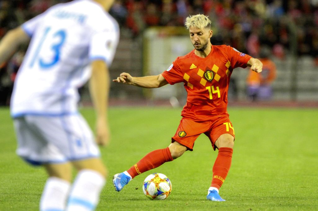 BRUSSELS, Oct. 11, 2019 - Dries Mertens of Belgium competes during the UEFA Euro 2020 qualifying round Group I match between Belgium and San Marino in Brussels, Belgium, Oct. 10, 2019.