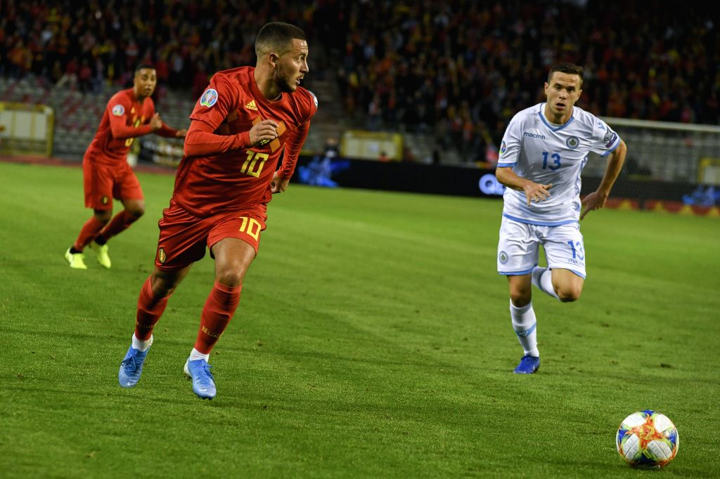 BRUSSELS, Oct. 11, 2019 - Eden Hazard of Belgium (L front) competes during the UEFA Euro 2020 qualifying round Group I match between Belgium and San Marino in Brussels, Belgium, Oct. 10, 2019.