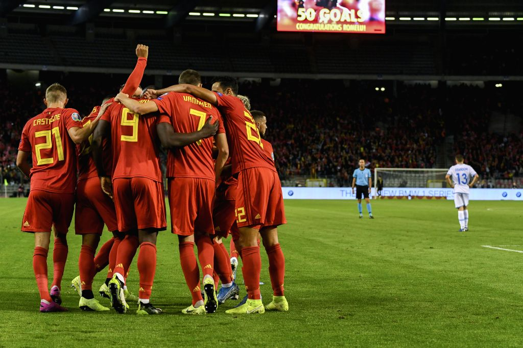 BRUSSELS, Oct. 11, 2019 - Players of Belgium celebrate a goal during the UEFA Euro 2020 qualifying round Group I match between Belgium and San Marino in Brussels, Belgium, Oct. 10, 2019.