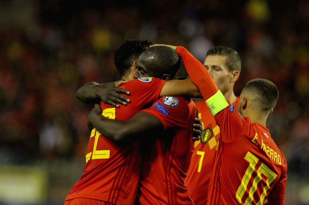 BRUSSELS, Oct. 11, 2019 - Romelo Lukaku (2nd L) of Belgium celebrates a goal with his teammates during the UEFA Euro 2020 qualifying round Group I match between Belgium and San Marino in Brussels, ...