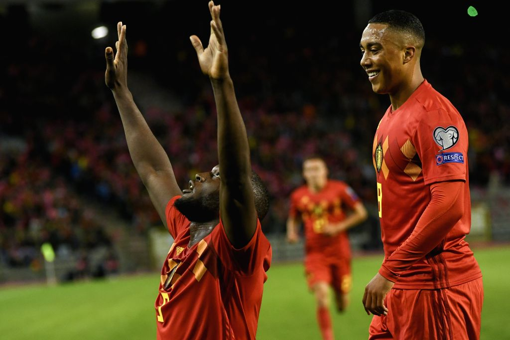 BRUSSELS, Oct. 11, 2019 - Romelo Lukaku (L) of Belgium celebrates his goal during the UEFA Euro 2020 qualifying round Group I match between Belgium and San Marino in Brussels, Belgium, Oct. 10, 2019.