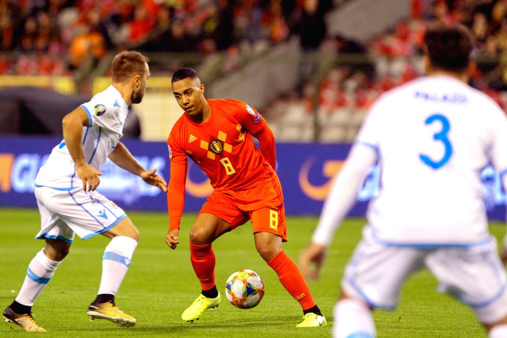 BRUSSELS, Oct. 11, 2019 - Youri Tielemans (C) of Belgium controls the ball during the UEFA Euro 2020 qualifying round Group I match between Belgium and San Marino in Brussels, Belgium, Oct. 10, 2019.
