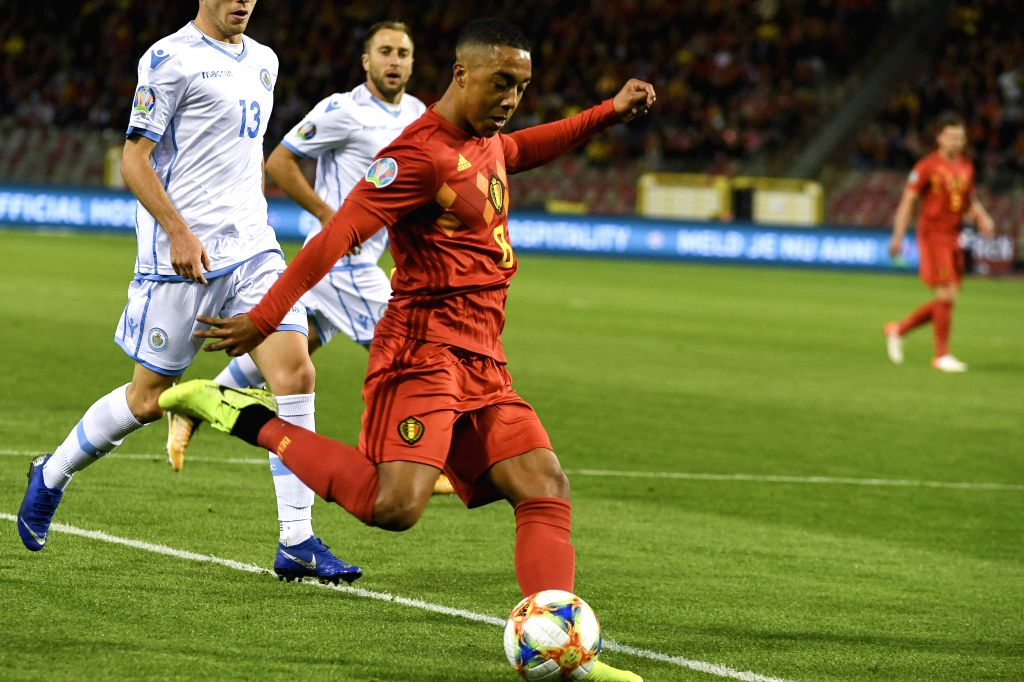 BRUSSELS, Oct. 11, 2019 - Youri Tielemans (front) of Belgium competes during the UEFA Euro 2020 qualifying round Group I match between Belgium and San Marino in Brussels, Belgium, Oct. 10, 2019.