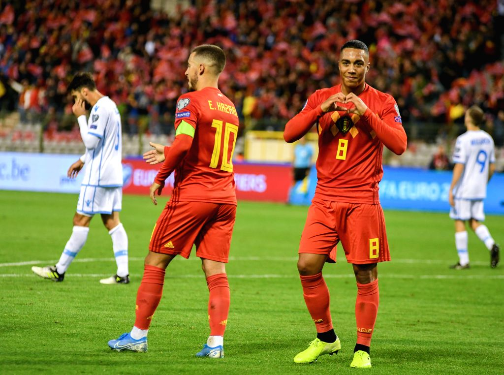 BRUSSELS, Oct. 11, 2019 - Youri Tielemans (front R) of Belgium celebrates a goal during the UEFA Euro 2020 qualifying round Group I match between Belgium and San Marino in Brussels, Belgium, Oct. 10, ...