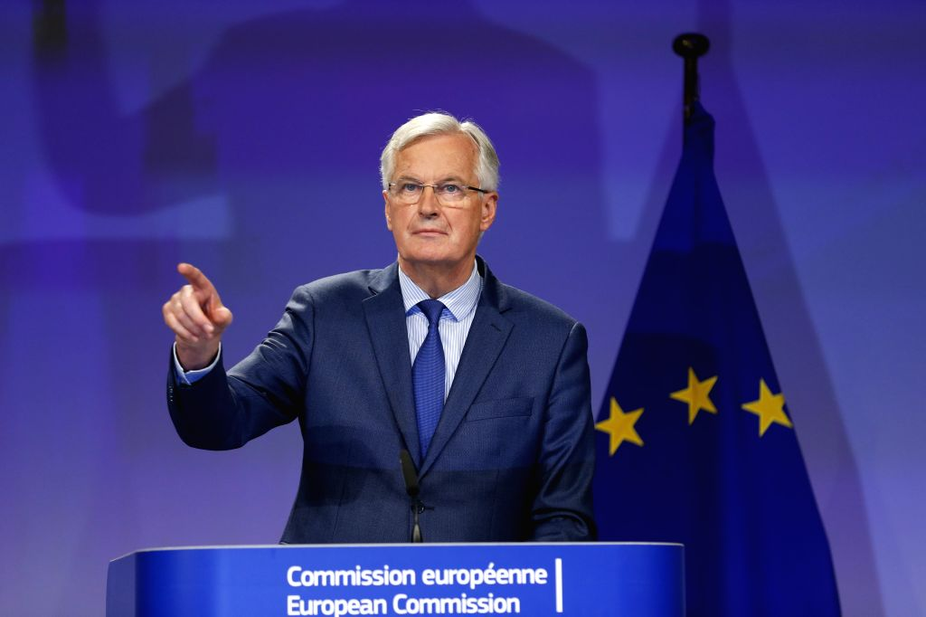 BRUSSELS, Oct. 12, 2017 - European Union (EU) chief negotiator Michel Barnier gestures during a press conference with Britain's Brexit Secretary David Davis (not seen) at the end of the fifth round ...