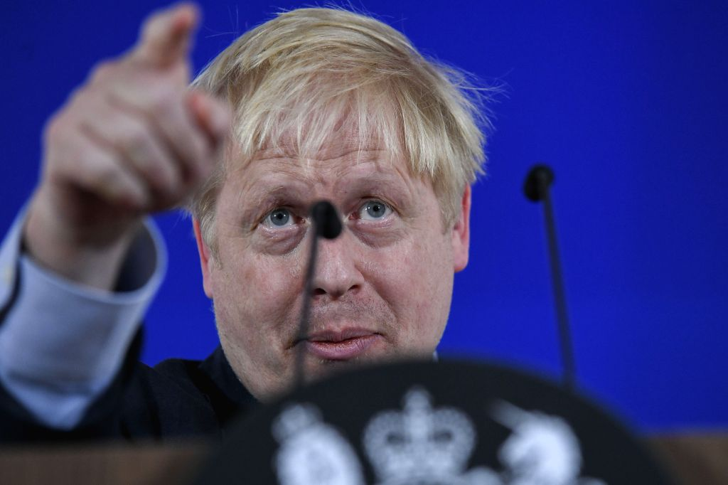 BRUSSELS, Oct. 17, 2019 - British Prime Minister Boris Johnson attends a press conference during an EU summit in Brussels, Belgium, on Oct. 17, 2019. The two-day summit kicked off on Thursday. The ... - Boris Johnson