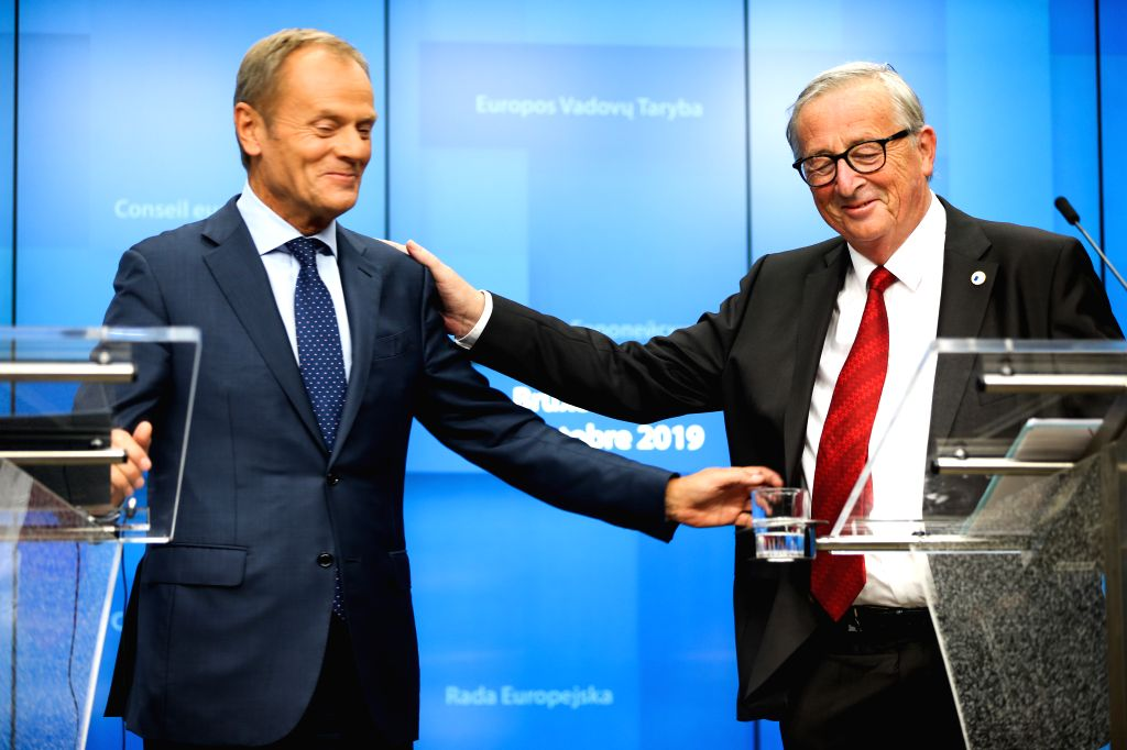 BRUSSELS, Oct. 17, 2019 - European Council President Donald Tusk (L) and President of the European Commission Jean-Claude Juncker attend a press conference during an EU summit in Brussels, Belgium, ...