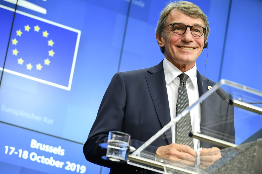 BRUSSELS, Oct. 17, 2019 - European Parliament President David Sassoli attends a press conference during an EU summit in Brussels, Belgium, on Oct. 17, 2019. The two-day summit kicked off on Thursday. ...