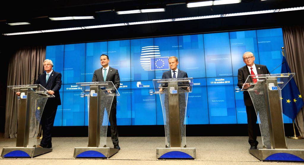 BRUSSELS, Oct. 17, 2019 - European Union (EU)'s chief Brexit negotiator Michel Barniers, Irish Prime Minister Leo Varadkar, European Council President Donald Tusk and President of the European ... - Leo Varadkar