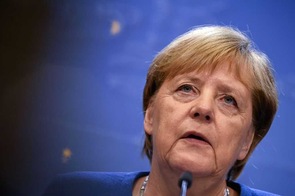 BRUSSELS, Oct. 17, 2019 - German Chancellor Angela Merkel attends a press conference during an EU summit in Brussels, Belgium, on Oct. 17, 2019. The two-day summit kicked off on Thursday. The ...