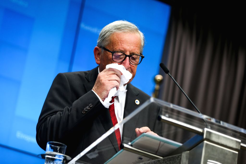 BRUSSELS, Oct. 17, 2019 - President of the European Commission Jean-Claude Juncker attends a press conference during an EU summit in Brussels, Belgium, on Oct. 17, 2019. The two-day summit kicked off ...