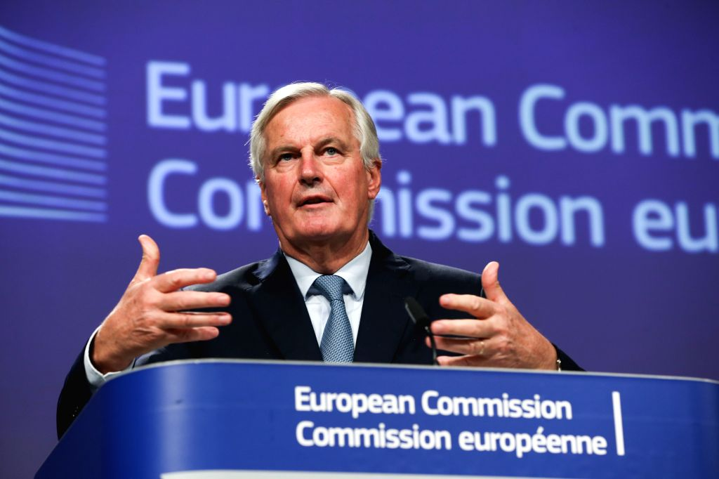 BRUSSELS, Oct. 17, 2019 - The EU's chief Brexit negotiator Michel Barnier attends a press conference at the European Commission headquarters in Brussels, Belgium, Oct. 17, 2019. The European Union ...