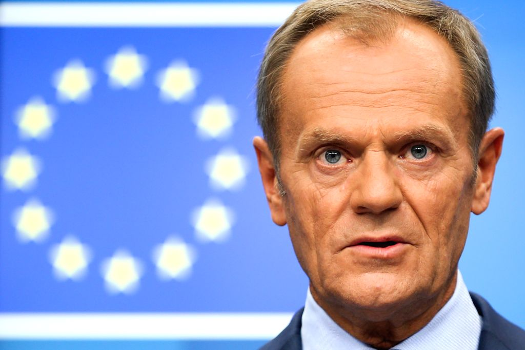 BRUSSELS, Oct. 17, 2019 (Xinhua) -- European Council President Donald Tusk attends a press conference during an EU summit in Brussels, Belgium, on Oct. 17, 2019. The two-day summit kicked off on Thursday. The European Union (EU) and Britain have reac