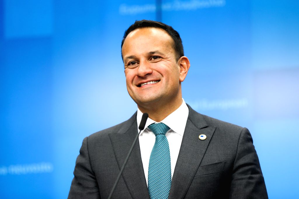 BRUSSELS, Oct. 17, 2019 (Xinhua) -- Irish Prime Minister Leo Varadkar attends a press conference during an EU summit in Brussels, Belgium, on Oct. 17, 2019. The two-day summit kicked off on Thursday. The European Union (EU) and Britain have reached a - Leo Varadkar