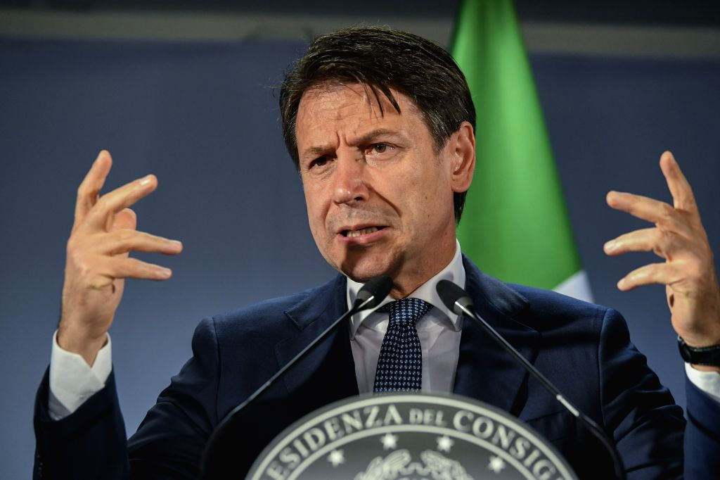 BRUSSELS, Oct. 18, 2019 (Xinhua) -- Italian Prime Minister Giuseppe Conte attends a press conference at the end of the EU summit in Brussels, Belgium, Oct. 18, 2019. (Photo by Riccardo Pareggiani/Xinhua/IANS) - Giuseppe Conte