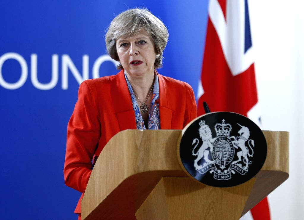 BRUSSELS, Oct. 21, 2016 - British Prime Minister Theresa May attends a press conference after the second-day's meeting of EU Summit in Brussels, Belgium, Oct. 21, 2016. - Theresa May