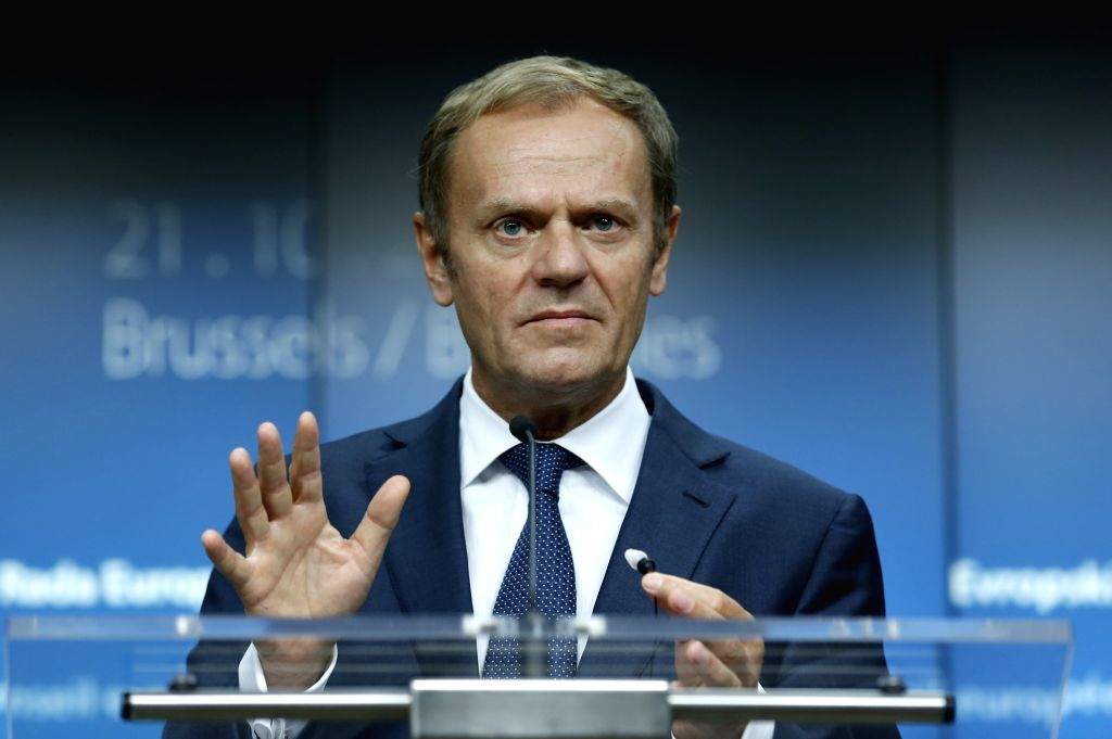 BRUSSELS, Oct. 21, 2016 - European Council President Donald Tusk attends a press conference after the second-day's meeting of EU Summit in Brussels, Belgium, Oct. 21, 2016.