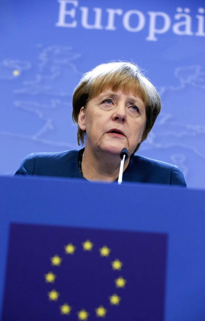 BRUSSELS, Oct. 21, 2016 - German Chancellor Angela Merkel attends a press conference after the second-day's meeting of EU Summit in Brussels, Belgium, Oct. 21, 2016.