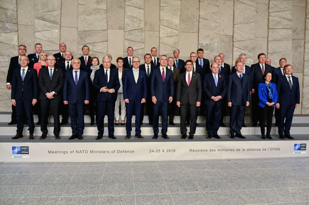 BRUSSELS, Oct. 24, 2019 - Attendees of meetings of NATO ministers of defense pose for a photo at the NATO headquarters in Brussels, Belgium, on Oct. 24, 2019.