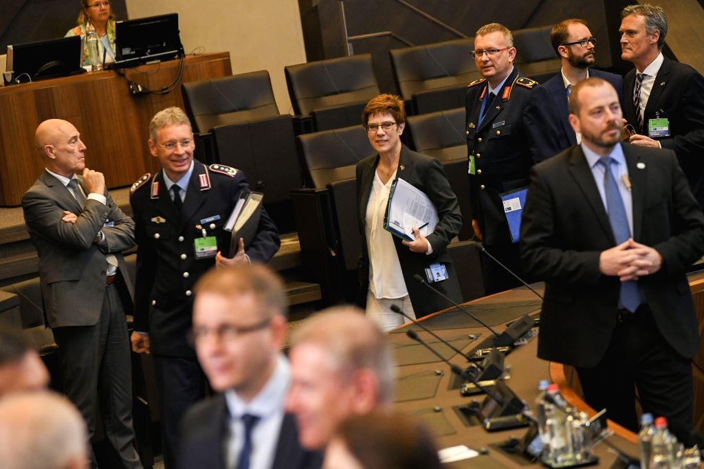 BRUSSELS, Oct. 24, 2019 - German Defense Minister Annegret Kramp-Karrenbauer (4th R, Rear) attends the Meeting of the North Atlantic Council in Defense Ministers' session at the NATO headquarters in ... - Annegret Kramp-Karrenbauer