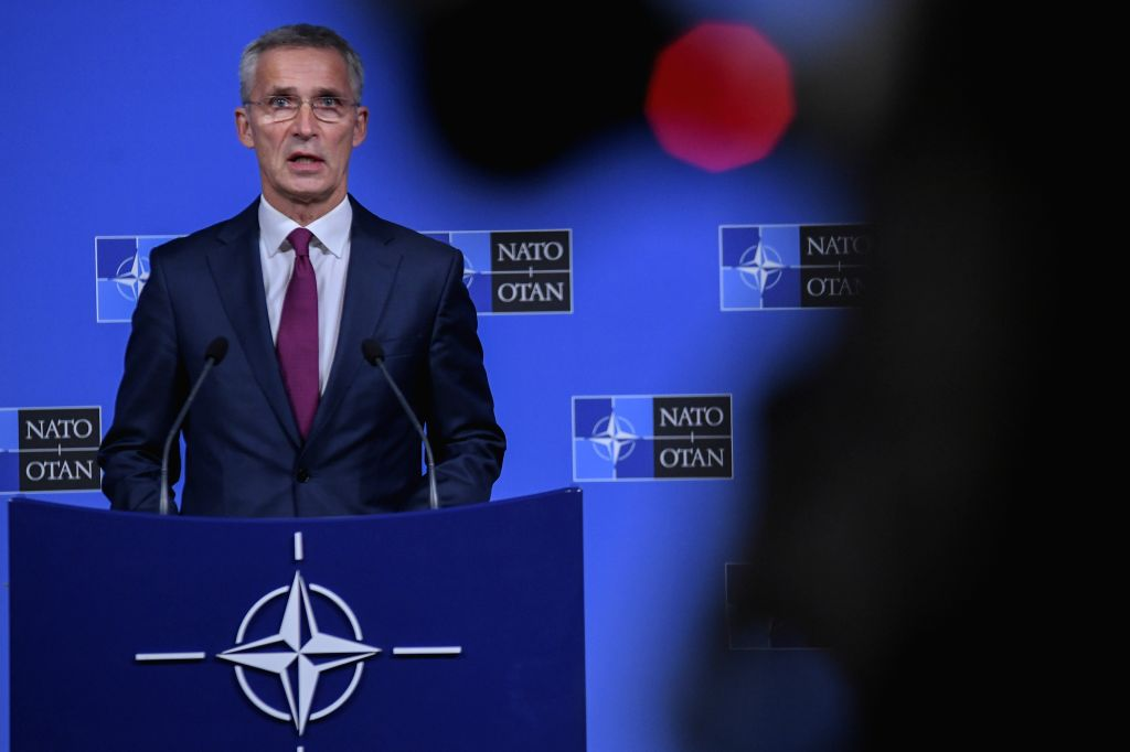 BRUSSELS, Oct. 24, 2019 - NATO Secretary General Jens Stoltenberg addresses a press conference at the NATO headquarters in Brussels, Belgium, on Oct. 24, 2019.