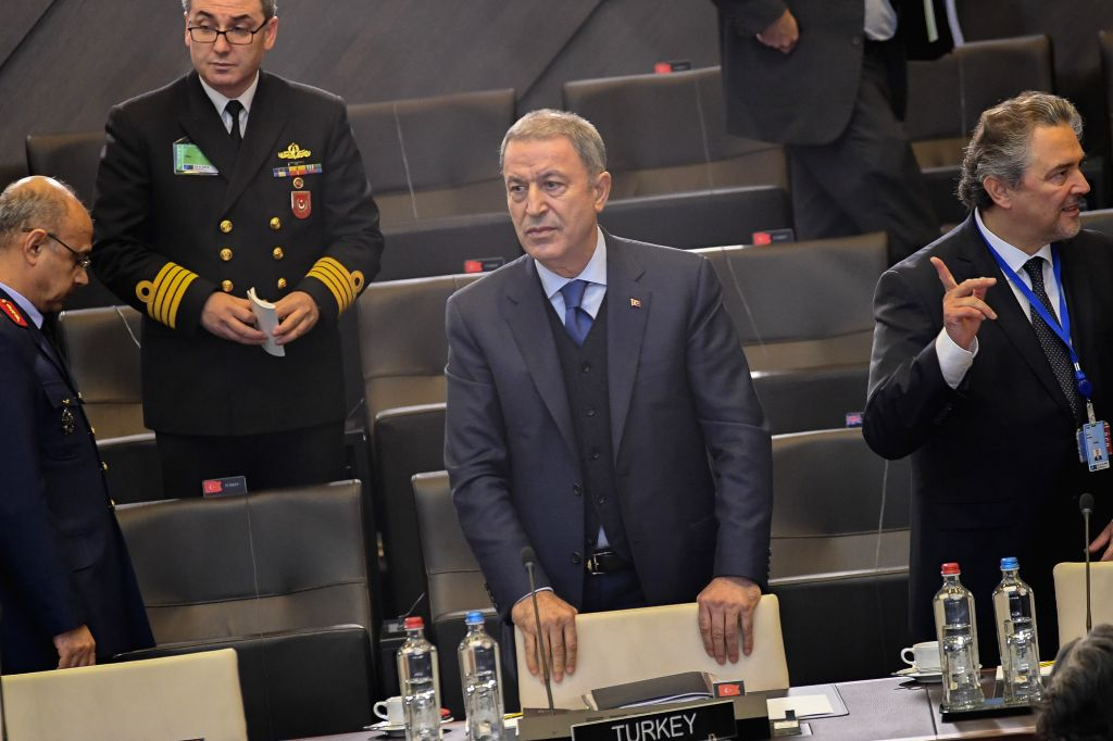 BRUSSELS, Oct. 24, 2019 - Turkish Defense Minister Hulusi Akar (C) attends the Meeting of the North Atlantic Council in Defense Ministers' session at the NATO headquarters in Brussels, Belgium, on ... - Hulusi Akar