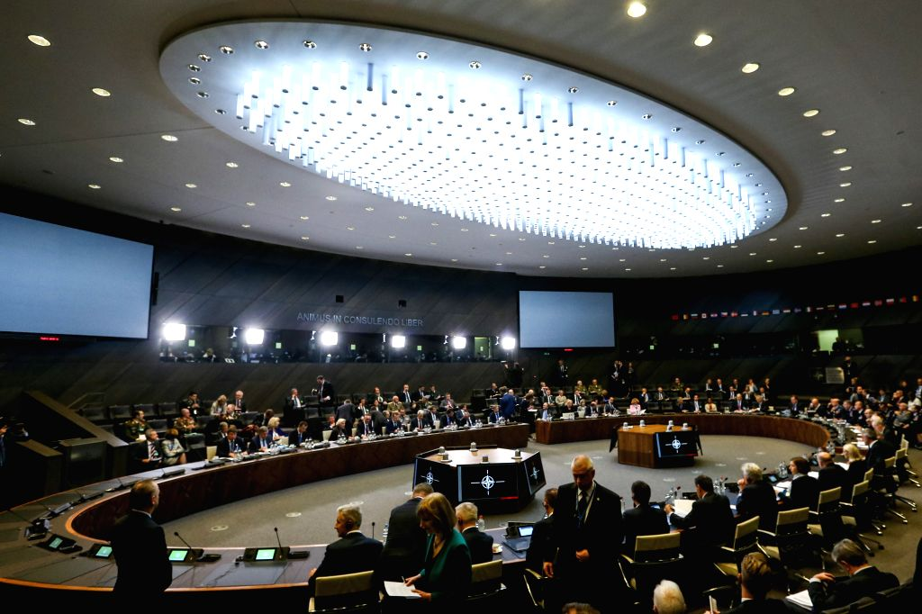 BRUSSELS, Oct. 25, 2019 - Delegates attend the meeting of the North Atlantic Council in Defence Ministers' session at the NATO headquarters in Brussels, Belgium, Oct. 25, 2019.