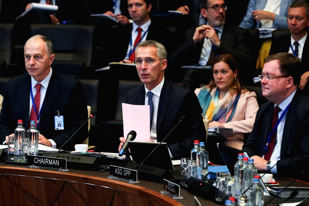 BRUSSELS, Oct. 25, 2019 - NATO Secretary General Jens Stoltenberg (C, front) speaks at the meeting of the North Atlantic Council in Defence Ministers' session at the NATO headquarters in Brussels, ...