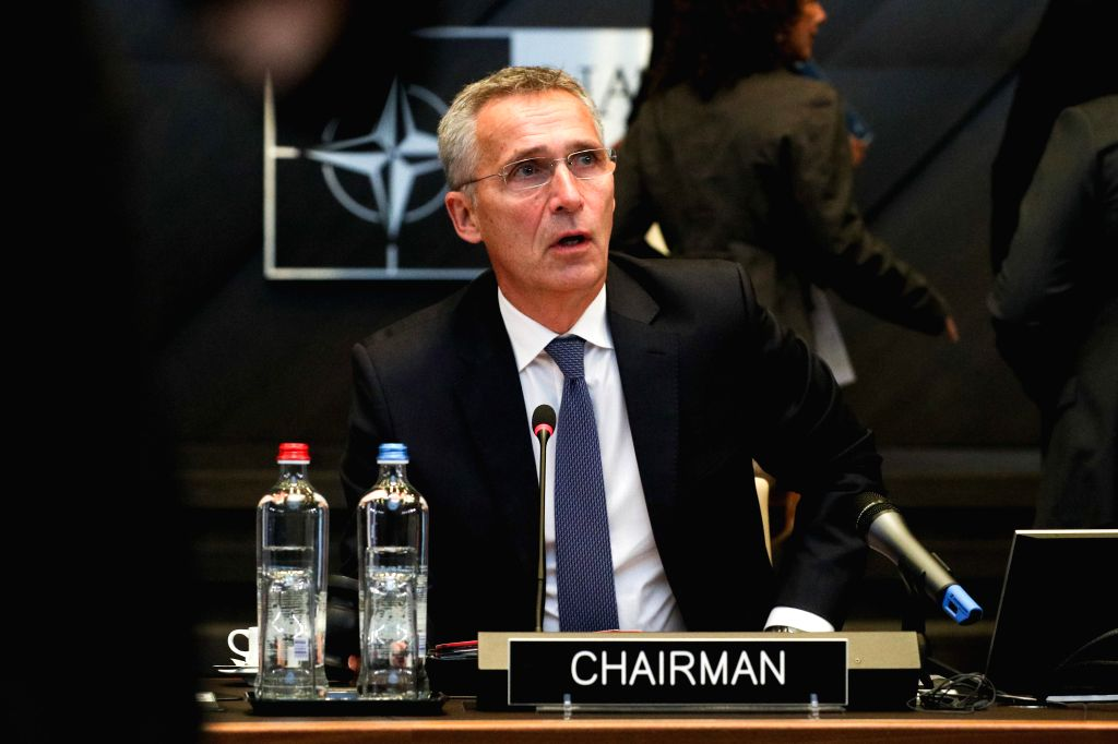 BRUSSELS, Oct. 25, 2019 - NATO Secretary General Jens Stoltenberg speaks at the meeting of the North Atlantic Council in Defence Ministers' session at the NATO headquarters in Brussels, Belgium, Oct. ...