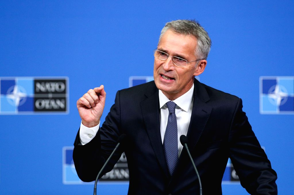 BRUSSELS, Oct. 25, 2019 - NATO Secretary General Jens Stoltenberg speaks during the wrapping-up press conference of a two-day NATO (North Atlantic Treaty Organization) defense ministers' meeting at ...