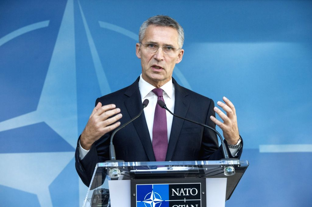 BRUSSELS, Oct. 26, 2016 - NATO Secretary General Jens Stoltenberg speaks at a press conference of NATO defence ministers in Brussels, Belgium on Oct. 26, 2016. NATO allies on Wednesday confirmed ...