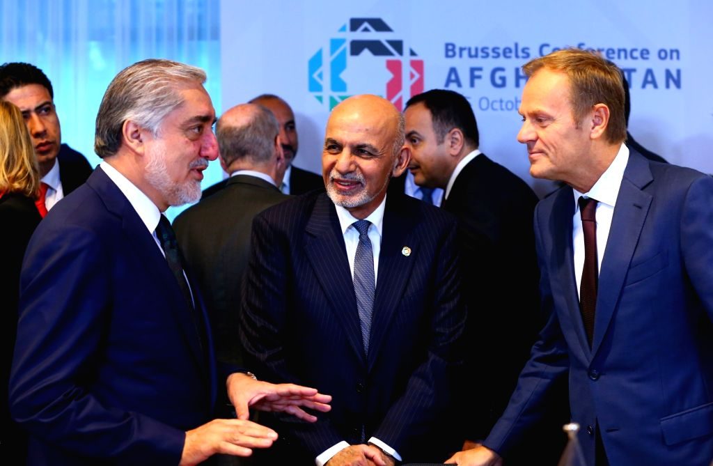 BRUSSELS, Oct. 5, 2016 - European Council President Donald Tusk (R) meets with Afghani President Ashraf Ghani Ahmadza (C) and Afghan Chief Executive Abdullah Abdullah during the Brussels Conference ...