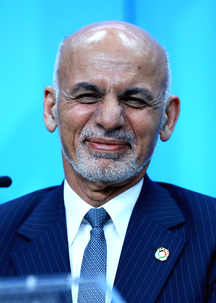 BRUSSELS, Oct. 6, 2016 - Afghan President Ashraf Ghani reacts during a press conference after a two-day conference on Afghanistan, Brussels, Belgium, on Oct. 5, 2016. The international donors on ...
