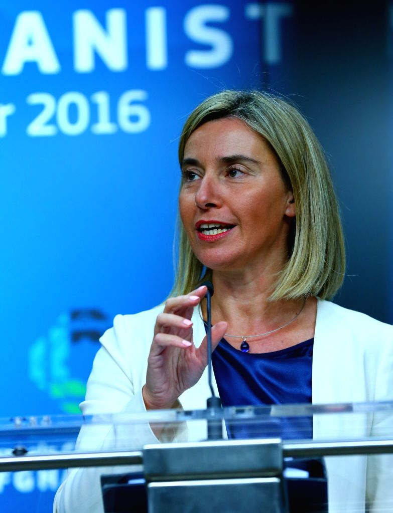 BRUSSELS, Oct. 6, 2016 - Federica Mogherini, High Representative of the European Union for Foreign Affairs and Security Policy, speaks during a press conference after a two-day conference on ...