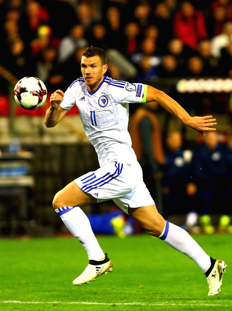 BRUSSELS, Oct. 8, 2016 - Bosnia and Herzegovina's Edin Dzeko competes during the FIFA World Cup 2018 football qualification match against Belgium in Brussels, Belgium, on Oct. 7, 2016. Belgium won ...
