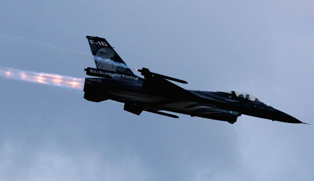 BRUSSELS, Sept. 14, 2019 - A F-16 fighter jet of the Belgian Air Force flies at the Sanicole Sunset Airshow in Hechtel, Belgium, Sept. 13, 2019.