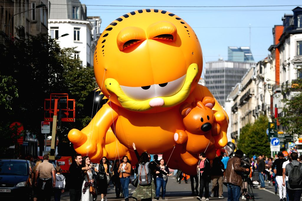 BRUSSELS, Sept. 15, 2018 - A balloon of Garfield is seen during the Balloon's Day Parade of the 2018 Brussels Comic Strip Festival in the center of Brussels, Belgium, Sept. 15, 2018. The Balloon's ...