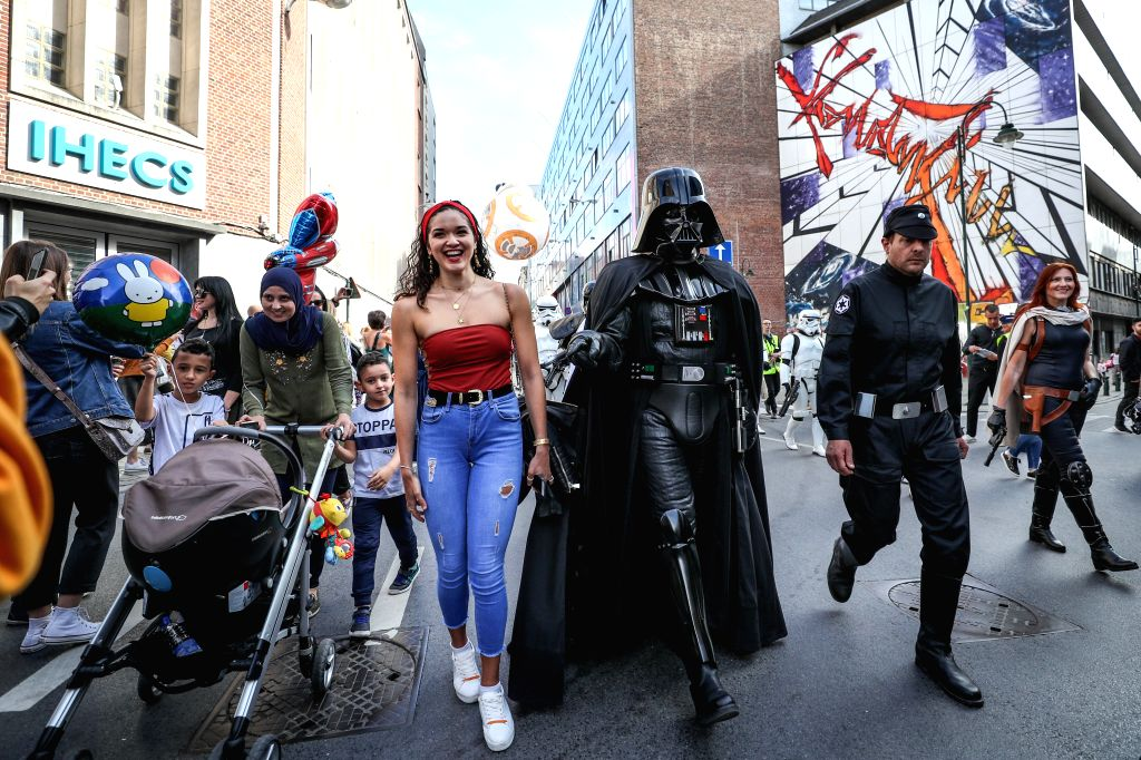 BRUSSELS, Sept. 15, 2018 - People dressed in the costume of the Star Wars attend the Balloon's Day Parade of the 2018 Brussels Comic Strip Festival in the center of Brussels, Belgium, Sept. 15, 2018. ...